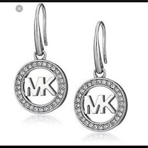 Authentic Michael Kors Logo silver tones earrings